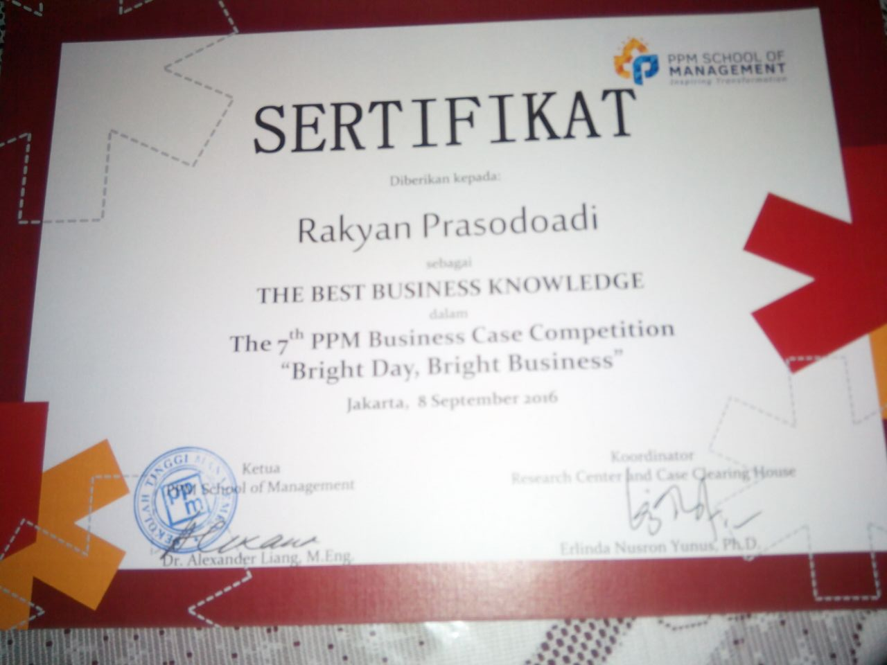 Mahasiswa Berprestasi; The Best Business Knowledge PPM Business Case Competition (PPM School of Management)
