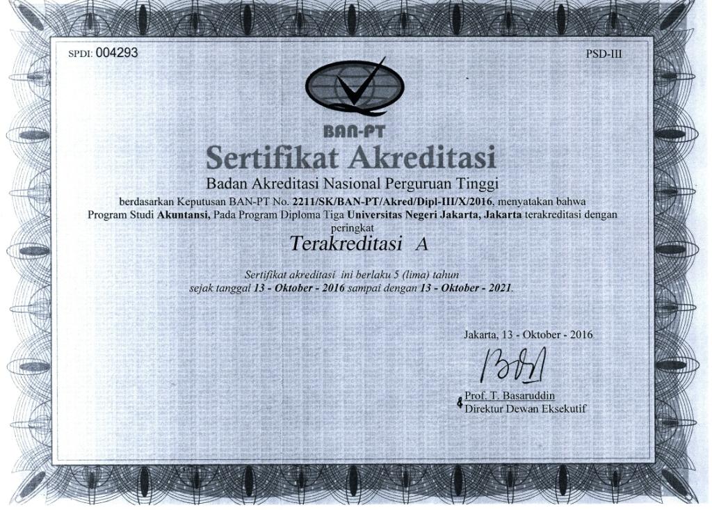 Sertifikat Akreditasi Prodi D3 Akuntansi 2016-2021