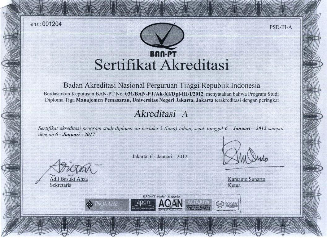 Sertifikat Akreditasi Prodi D3 Manajemen Pemasaran