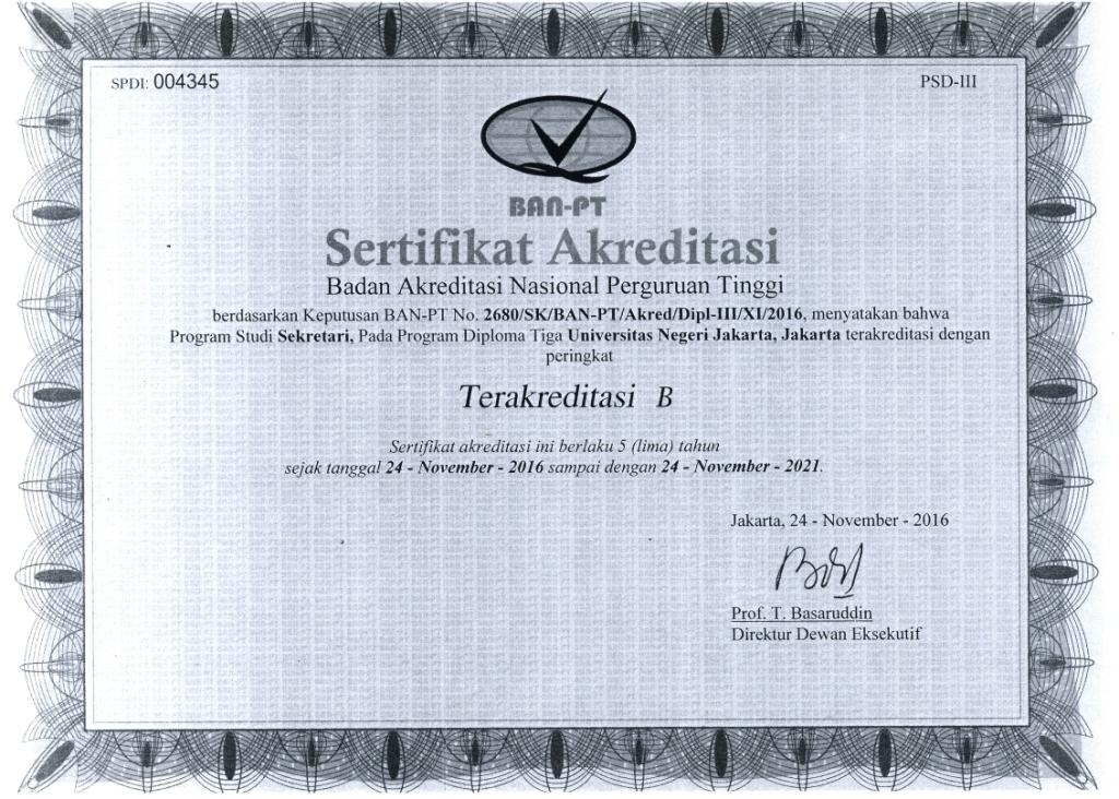 Sertifikat Akreditasi Prodi D3 Sekretari 2016-2021