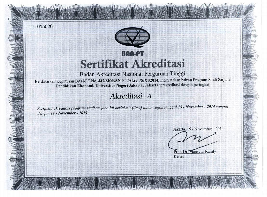 Sertifikat Akreditasi Prodi Pend. Ekonomi