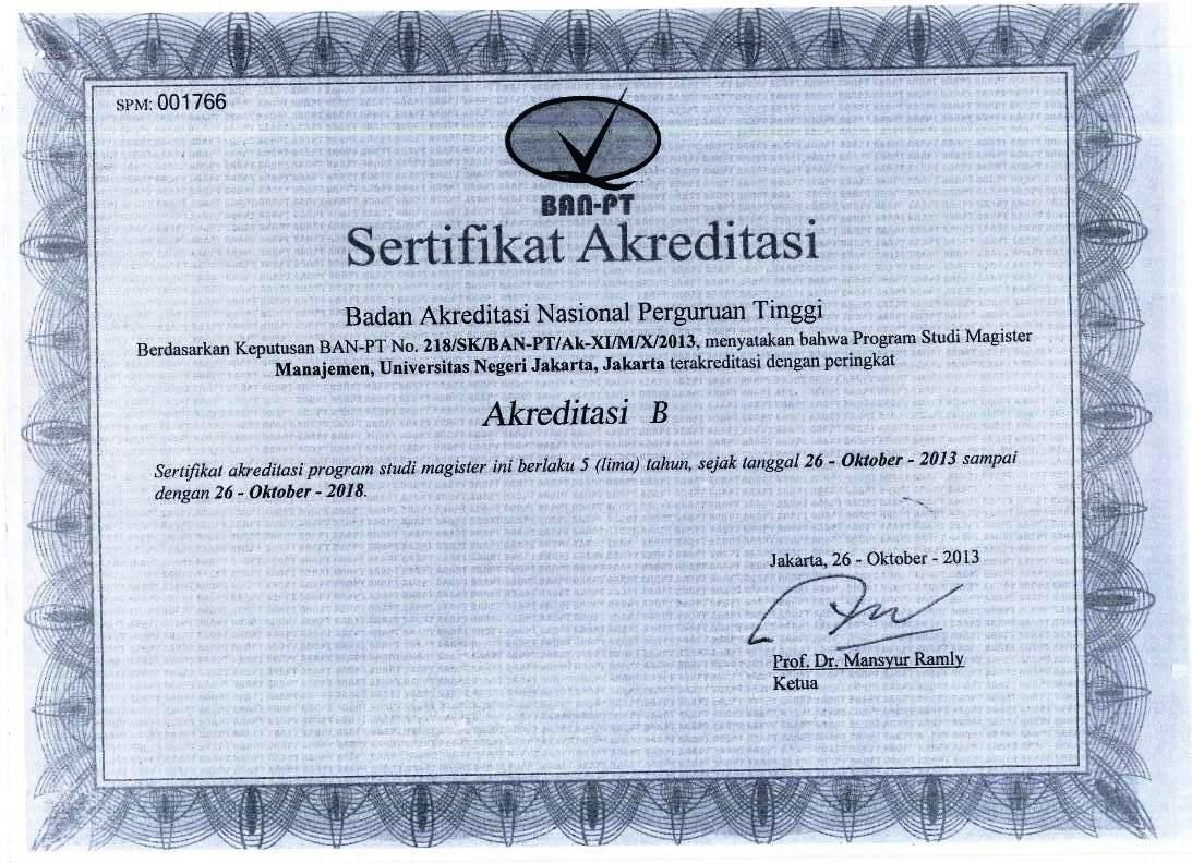 Sertifikat Akreditasi Prodi S2 Magister Manajemen