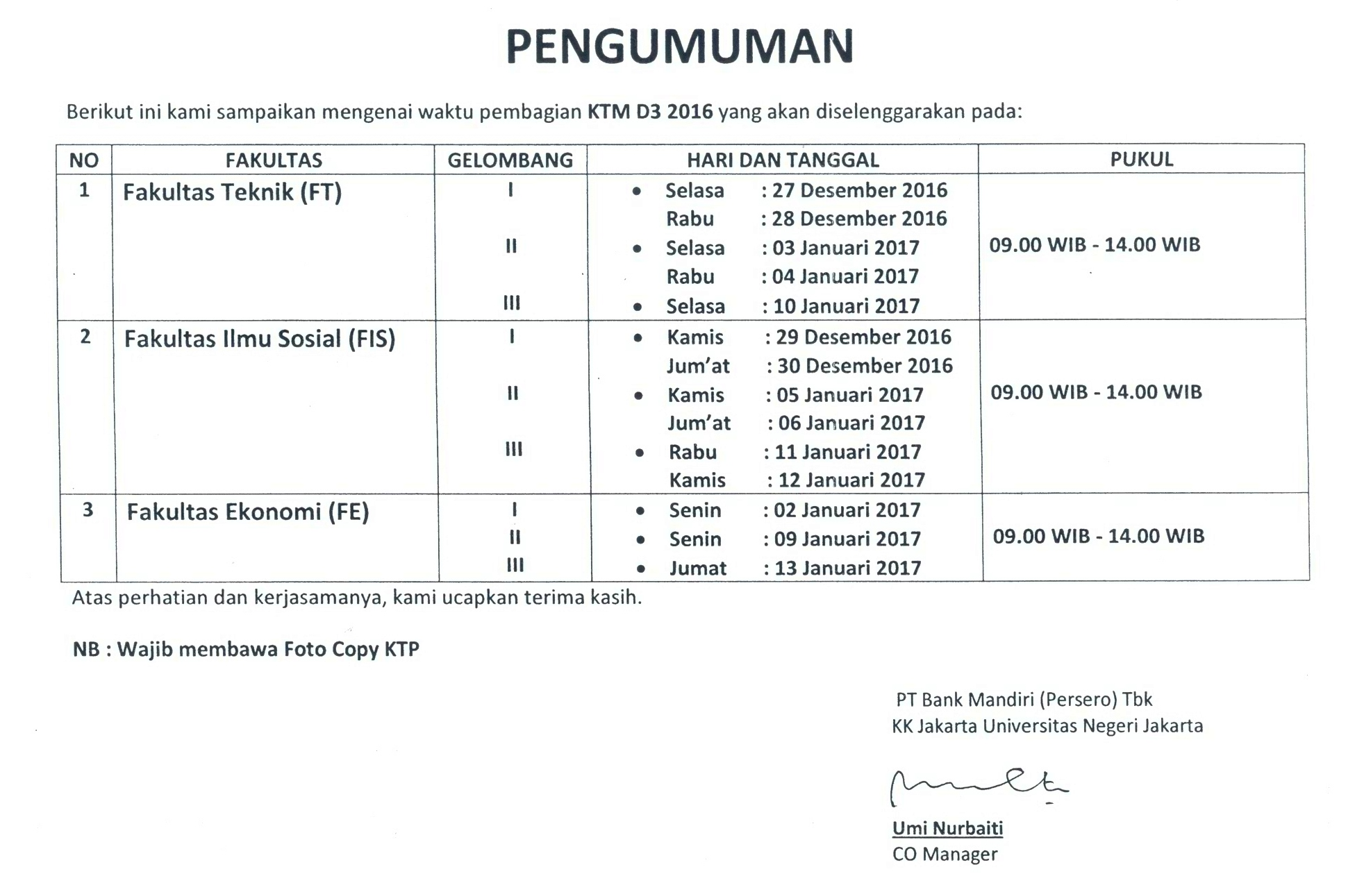 Info pembagian KTM D3