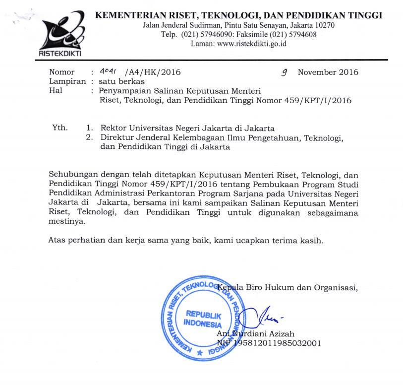 Selamat Atas Disetujuinya Pembukaan Program Studi  Pendidikan Administrasi Perkantoran Fakultas Ekonomi Universitas Negeri Jakarta