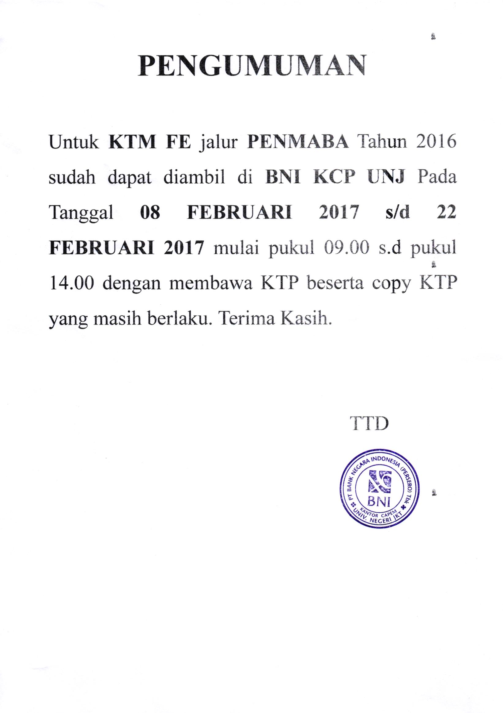 Info KTM Penmaba 2016