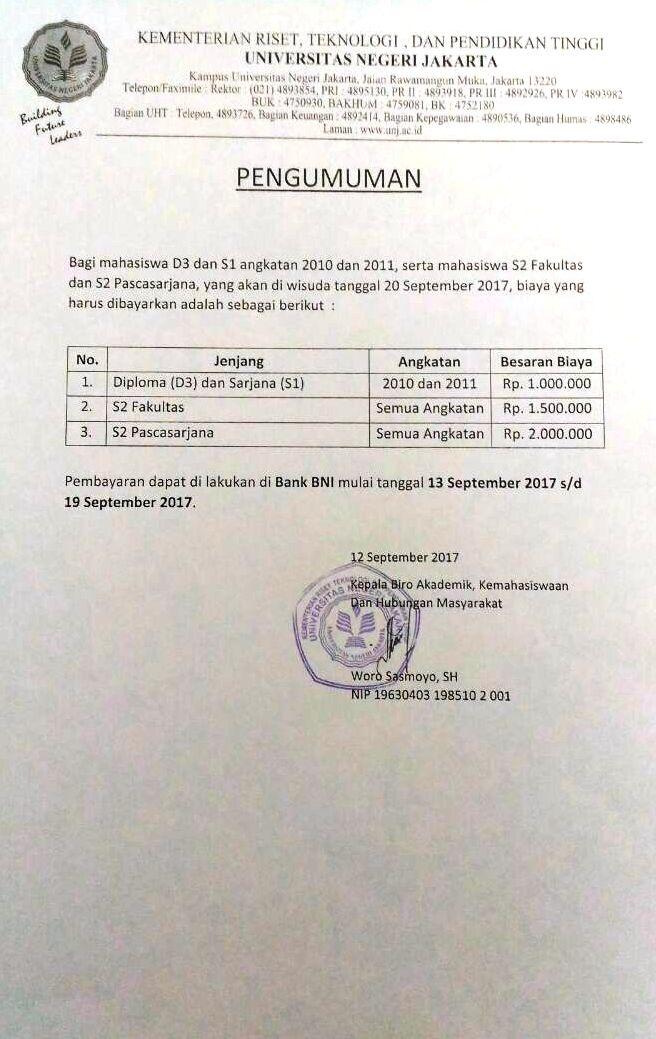 Info Pembayaran Wisuda 107