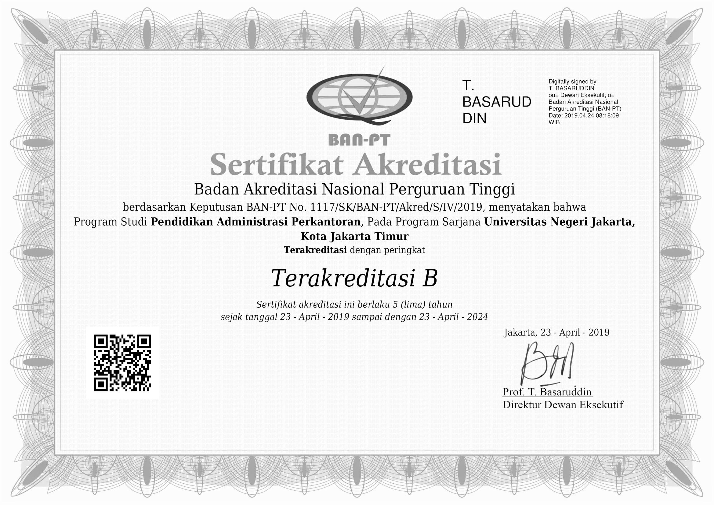 Sertifikat Akreditasi Prodi S1 Manajemen